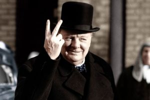 Freemason: Winston Churchill making his famous V for Victory sign, 1942