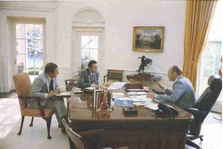 Freemasons Ford, Rumsfeld, and Cheney in the Oval Office