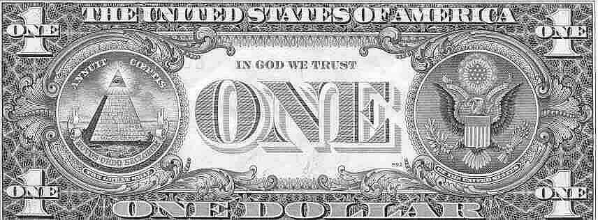 dollar bill back side. U.S. One Dollar Bill