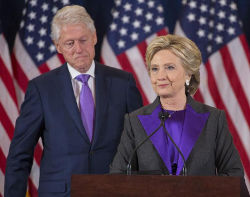 Bill and Hillary Clinton, concession speech, color purple, masonic, freemasons, freemason, freemasonry