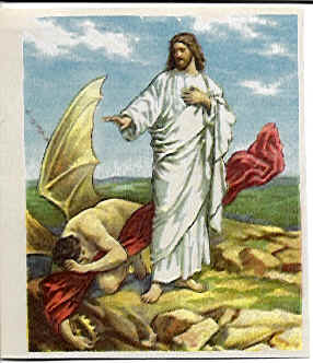 Jesus spurning the Devil