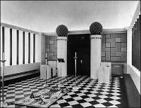 Lodge Room, boaz jachin, black and white tiled fllor