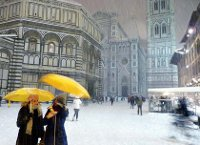 Florence, Italy, Europe, Britain, UK, Snow, Winter, Church