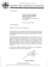 Sarkozy Letter France Freemasonry