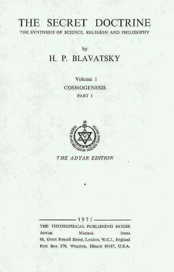 The Secret Doctrine, by H.P. Blavatsky