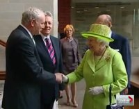 Freemason Handshake, Queen Elizabeth shakes hands with convicted terrorist and former Irish Republican Army commander Martin McGuinness