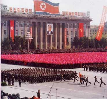 north korea flag meaning. North Korea Parade, North