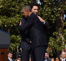 Bro. Barack Obama and Bro. Justin Trudeau exchanging Masonic pleasantries and 'grips', in secret, using the 'Five Points of Fellowship' Freemason exchange.