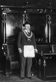 Teddy Roosevelt wearing a Masonic Apron